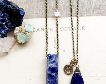 S k y...Sodalite crystal, Lapis, moonstone, Lotus, December Birthstone, Boho, Throat Chakra, Brass Necklace, Taurus, crystal FREE SHIPPING