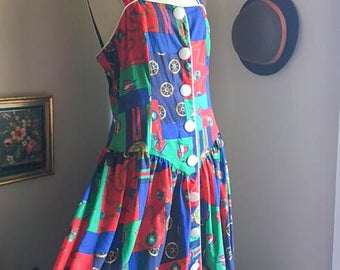 Sweet Vintage 80s 90s Nautical Patchwork Maxi Sailor Dress