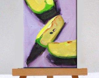 Miniature, Still Life, Oil Painting, Original, 4x6 Canvas, Green, Lavender, Kitchen Decor, Tiny Art, Small Fruit, Little
