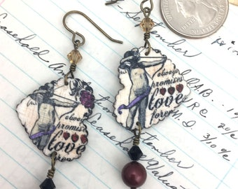 Valentine's Day Love Earrings, Mixed Media Cupid Jewelry, Art Wearable Hearts