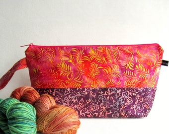 Wedge Bag, Shawl Project Size Knitting Bag - Batiks in pinks, oranges, purples