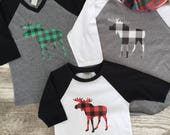 Girls Boys Unisex Red Black Buffalo Plaid Moose Baseball T Shirt modern graphic trendy tee sibling set black green white Christmas Holiday