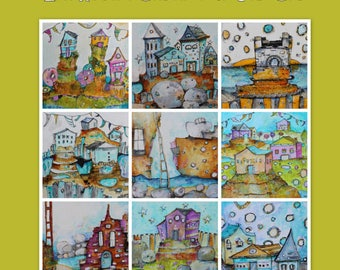 E-Course:   Class now open! Zen Houses Online  acrylic painting workshop with Jodi Ohl