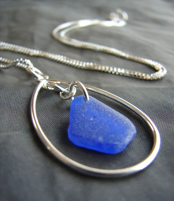 Sea Keeper sea glass necklace in cobalt blue