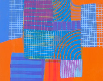 Modern Aerial Map Abstraction Original Painting on Board Detroit 3