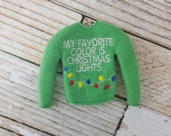 """Christmas Lights Sweater, Elf Sweater, Elf clothes, Elf attire, Christmas, Mischevious Elf, Scout Elf, Doll sweater 12"""" doll clothes"""