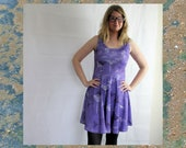 Ultra violet seeds and bird print skater dress, mini dress stretchy purple/ lilac botanical plant nature novelty print dress