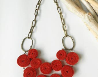 Felt necklace - Felt rolls beads necklace - Red necklace - Statement necklace - Textile jewelry