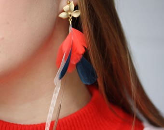 NEW Natural Colorful Feather Earrings. Matte Fold Orchid Flower Stud Coral, Beige and Navy Feather Earrings. Long Dangle Feather Earrings 34