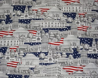 Patriotic Buildings novelty fabric quilt fabric White House Congress flag red white and blue Made in USA