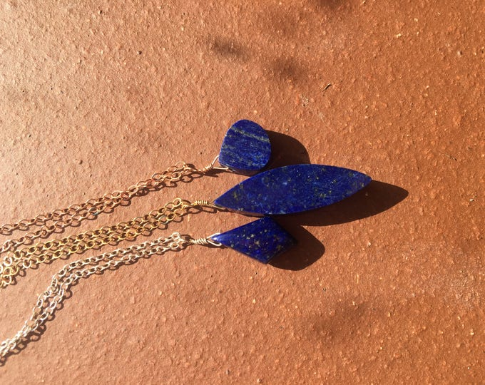 Lapis Lazuli Sterling Silver Ellipses Necklace in Gold Filled Littles, Bridesmaid Gift