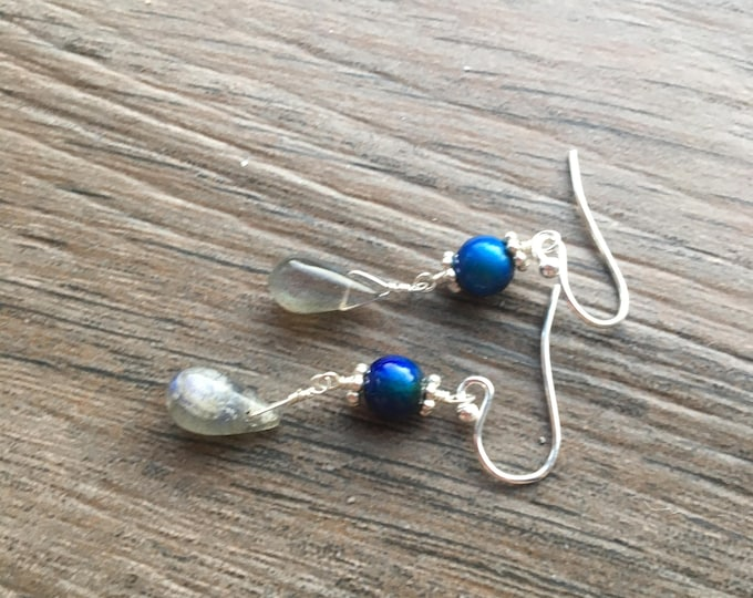 Labradorite and Color Changing Mood Bead Earrings with Bali Silver and Sterling Silver Accents gift fun rainbow