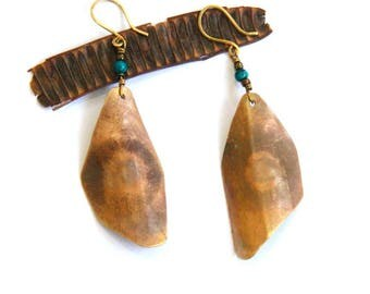 Brass Geometric and Patina Shield Earrings (E1273)