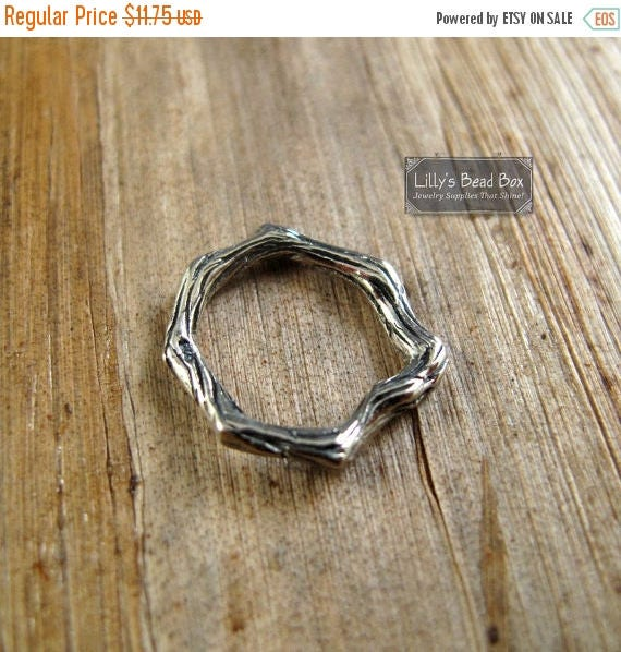 SALE 50% off - Silver Circle Link, Sterling Branch Link, Textured Jewelry Connector, Organic Round Link, Jewelry Supplies (Ch A777)