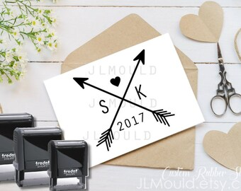 0323 SELF INKING Rubber Stamp JLMould Arrows and Initials Wedding Invitations SavetheDate Cards Birthday or Anniversary Cards
