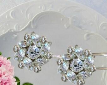 Bridal Hair Pins, Crystal Bobby pins, wedding hair accessories, Wedding hair clips, Bridesmaids hair flower, wedding hair brooch pins
