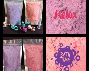 Bath Bomb Fizzies in a Bag Pink Purple *Pick Your Scent* 8 oz Ounces Bath Fizzy Crumbles Fairy Dust
