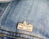 Enameled pin make pie not war blush pink rose gold flair hippie baker pin game modern hippie woman