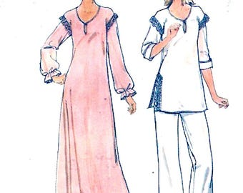 Womens Nightgown pajamas Sleepwear loose fitting sewing pattern Butterick 5701 Sz medium Uncut
