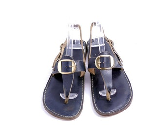 Size 8 // Vintage Navy leather Summer Flats// Hippie Sandals// Leather Sandals// Buckle Thong Sandals // Leather Flats// 210