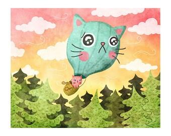 Windy Kitty Balloon - Cute Cat Print Nursery Art Hot Air Balloon Cat Art Print Cat Illustration Gender Neutral Baby Animal Art Cat lover art