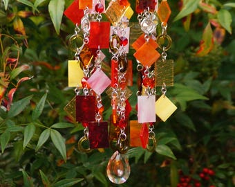 Glass Wind Chime - Glass Suncatcher - One Of A Kind Gift For Her, Garden Decor, Anniversary, Birthday, Wedding, Housewarming, Muy caliente
