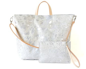Nicole - Handmade Acid Wash Silver Hair On Hide Leather Tote Bag With Detachable Clutch SS17