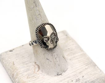 Gold Chrome Large Skull Ring // Swarovski and Sterling Silver ring, by BellaLili, Welded Silversmith