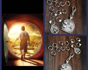 Hobbit and Lord of the Rings inspired Ring Stitch Markers, Entish ring markers, stitchmarkers, progress keeper, clip on charm
