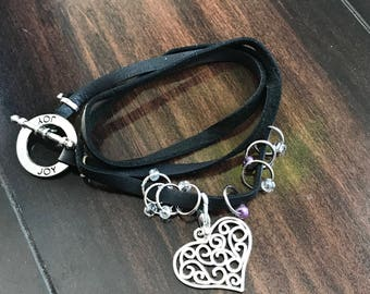 Boho SILVER Joy Circle Triple Wrap Bracelet - For Knitters, leather, holds stitch markers and progress keepers in style.