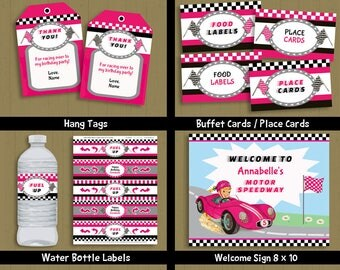 Race Car Birthday Party printable package blonde girl car themed invite & decorations kit - INSTANT DOWNLOAD P-52 set 1 - with editable text