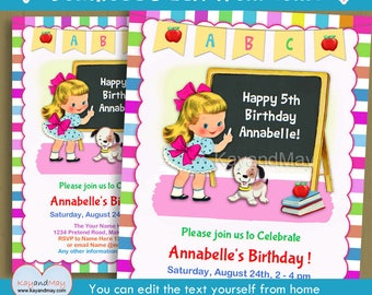 Back to School invitation - cute End of Summer School themed birthday party - blonde girl & puppy INSTANT DOWNLOAD #P-3A  with editable text
