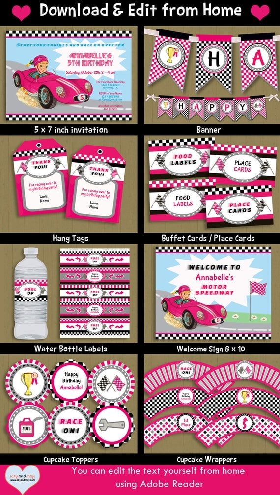 Race Car Birthday Party printable package blonde girl car themed