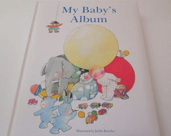 Vintage Baby Memory Book, Baby Book, Discovery Books, baby shower gift, baby keepsake book, baby scrapbook, child photo album, nursery decor