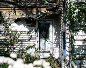 Sweet Abandoned House Photo — Forsaken Homestead Wall Art Photograph — Little White House — Overgrown Empty Home Photo — Springtime Flowers