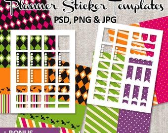 DIY planner sticker kit, full box, half box, ribbon EC LF vertical layout / Halloween Planner Sticker Download Blank Template Commercial use