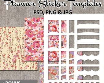 Make your own planner stickers / DIY Kit blank templates Erin Condren Life Planner, bonus printable washi papers / instant download