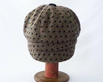 Newsboy Hat, Women's Hat, Mocha Brown, Black Dots, Woven Wool, Faux Suede Accents, Cute Hat, Cloche Brim, Gift for Her, Cap, Chapeau, Mod