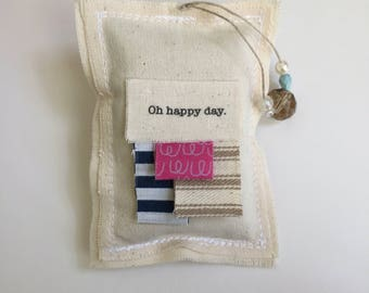 hanging fabric scrap lavender sachet, word quote sachet,oh happy dayl dried lavender sachet, beaded whimsical boho urban bead sachet -No. 16