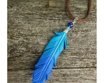 Simple Blue Feather Pendant - Leather Bird Feather Jewelry - 3 inch Necklace