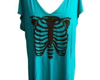 Agoraphobix Rib Cage print oversize bat sleeve top | 90s shirt