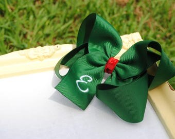 Large Holiday Hair Bow Set - Personalized St Paddy's Day Bow - 5 Inch Hairbows - Preppy Hairbows - Large Hairbow Set - Initial Bows to Match