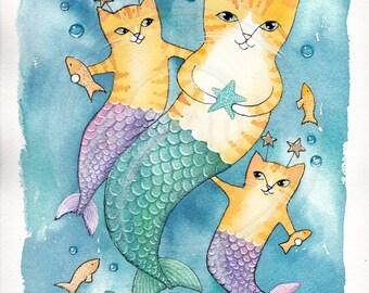 A Family of Mercats Original Cat Folk Art Watercolor Painting