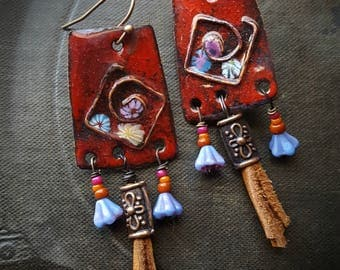 Enameled Charms, Enameled Earrings, South West, Aztec, Tribal, Flowers, Tassel,  Earthy, Organic, Rustic, Beaded Earring
