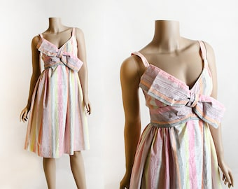 Vintage 1960s Dress - Rappi Pastel Cotton Candy Striped Whimsical Big Bow Party Dress - Pink Lolita Sundress - Faux Bois Texture - Small