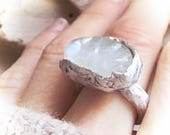 Reserved Dreaming satin flash eco silver ring with satin flash opal size 7