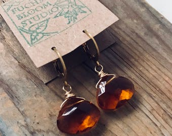 Amber Glass Earrings Briolettes 14K Gold Filled Wire Wrapped March Birthstone Jewelry Bridesmaid Jewelry Gifts Under 30