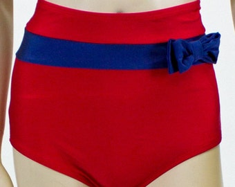 Frannie Super High Waisted Red and Navy Bikini Bottom with Bow S ONLY