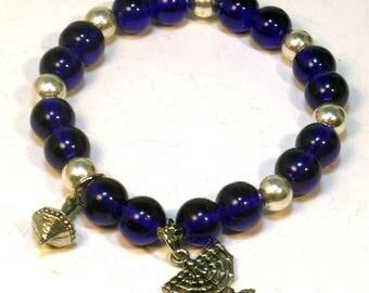 Hanukkah bracelet - Chanukah menorah and dreidel bracelet - Hanukkah Gifts - Gifts for Her