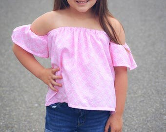 Girls Off Shoulder Top Dress sewing tutorial PDF newborn through 16 teen girls